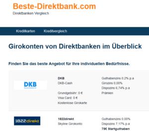 Direktbanken im Vergleich